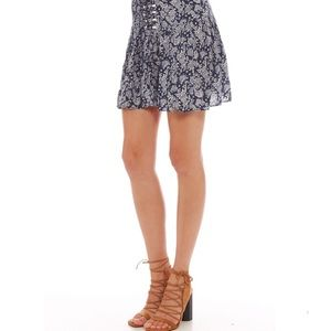 MINKPINK navy and white floral lace up skirt